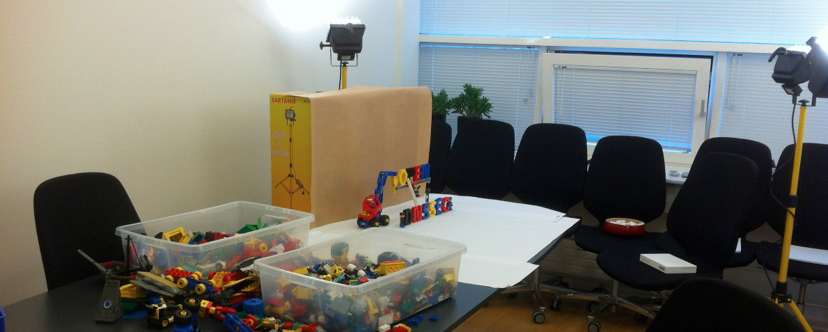 Preparing Lego slides in the office